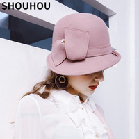 SHOUHOU 2018 Women Winter Warm Wool Hats New Arrival Female Solid Fedoras Hats Girls Christmas Gift Buckets Party Show Hats Caps