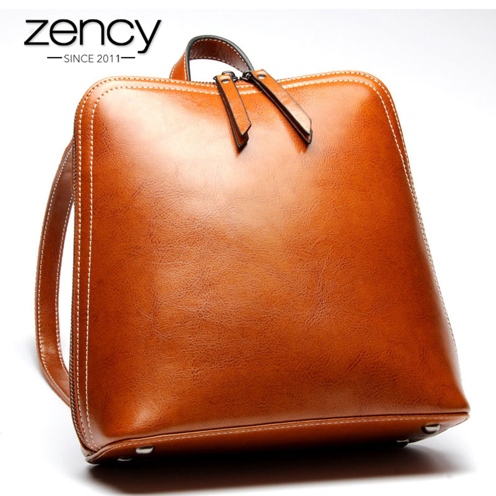 Zency Famous Brand 100% Genuine Leather Women Backpacks Solid Ladies Travel Bag Preppy Schoolbags For Girls Grey Brown Knapsack