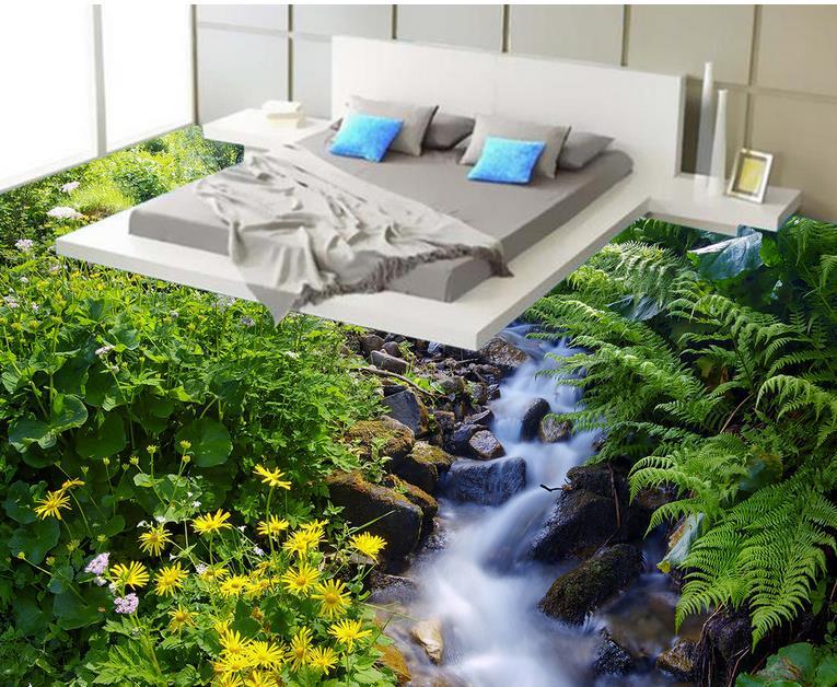 3d stereoscopic wallpaper rural floor vinyl adhesive photo wall murals Flowers customize waterproof wood flooring for bathrooms