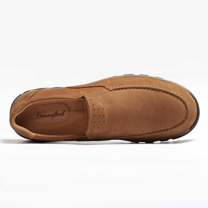 Tam tahıl deri büyük boy Vintage sonbahar ayak bileği el yapımı erkek botları # LS8275