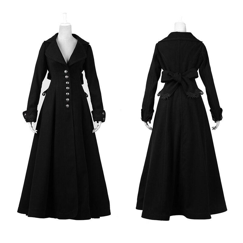 Gothic Retro Palace Floor-Length Worsted Coats for Women Fashion