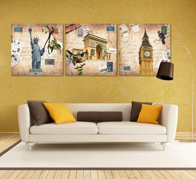 European Style Retro World New York London Paris Canvas Oil Painting ...