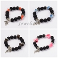 Heart & Cross Lava Beads Charm Bracelets, with Shell Beads and Tibetan Style Alloy Findings, Black, 60mm