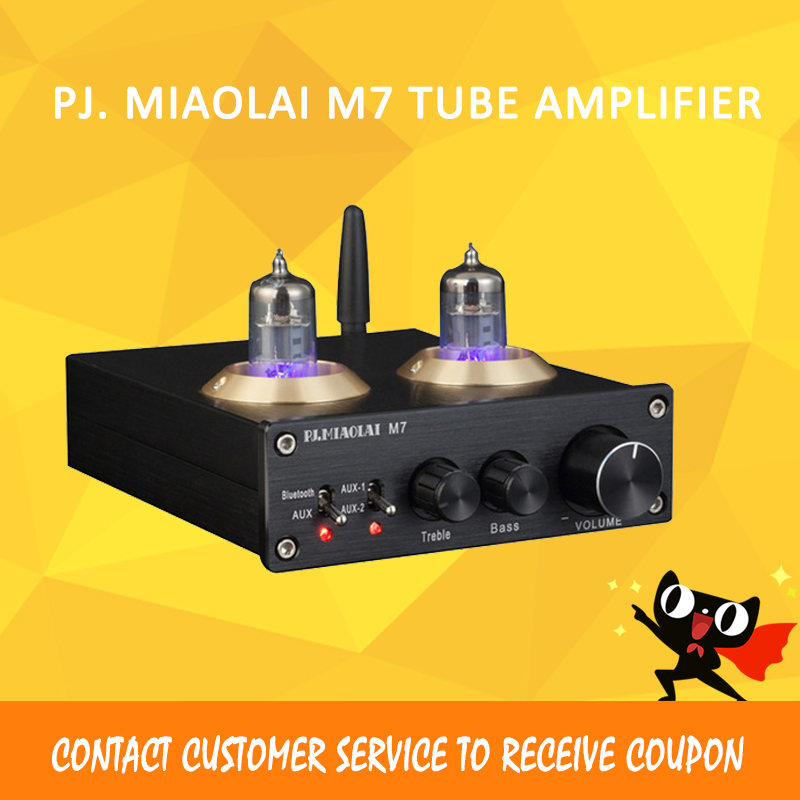 PJ. MIAOLAI M7 tubo amplificatore 6J1 Tubo audio amplificatore bluetooth 2.1 di classe a amplificatore mini power amplificador audio