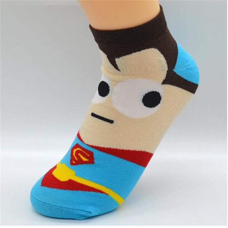 5 Pair lot Cartoon Superhero Women Socks Cotton sokken Kawaii Cute Fashion Girls Short Ankle Invisible Socks with Gift Bag in Socks from Underwear Sleepwears