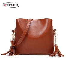 KYIDER New Famous Brand Women Bag Leather Fashion Ladys Tote Tassel Handbag For Girls Vintage Shoulder Purse