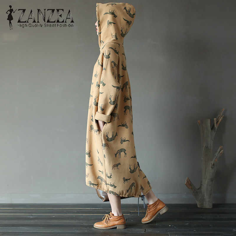 ZANZEA Plus Size Kaftan Long Sleeve Mid-Calf Dress Animal Printed Hooded Pullover Sweatshirt Lace-Up Stylish School Hot Vestido