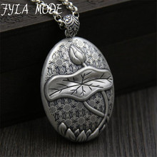 Real 999 Sterling Silver Natural Handmade Fine Jewelry Oval Shape Lotus Leaf Pendant without Necklace Accessory for Women