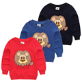 New Arrival 2017 spring and autumn child girl boy sweatshirt cartoon lion applique embroidered 100% cotton casual sports top