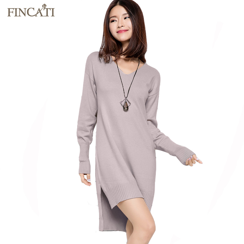 <font><b>Women</b></font> Asymmetrical Split <font><b>Sweater</b></font> Dress 2018 <font><b>New</b></font> Spring Autumn <font><b>V</b></font> Neck Long <font><b>Rib</b></font> Cuff Cashmere Loose Pullover <font><b>Sweaters</b></font> Vestidos