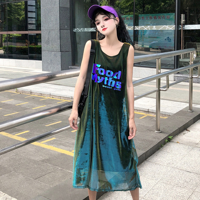 2018 New Hipster Dress Female Summer Korea Ulzzang Harajuku Bf Loose  Sleeveless Laser Sequin Letter Mesh 6a5578f3ca9c
