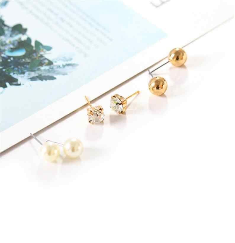 9Pcs Set Promotion Dainty Minimalist Rhinestone Crystal Simulated-pearl Stud Earrings Women combination Earrings Bijoux E5127