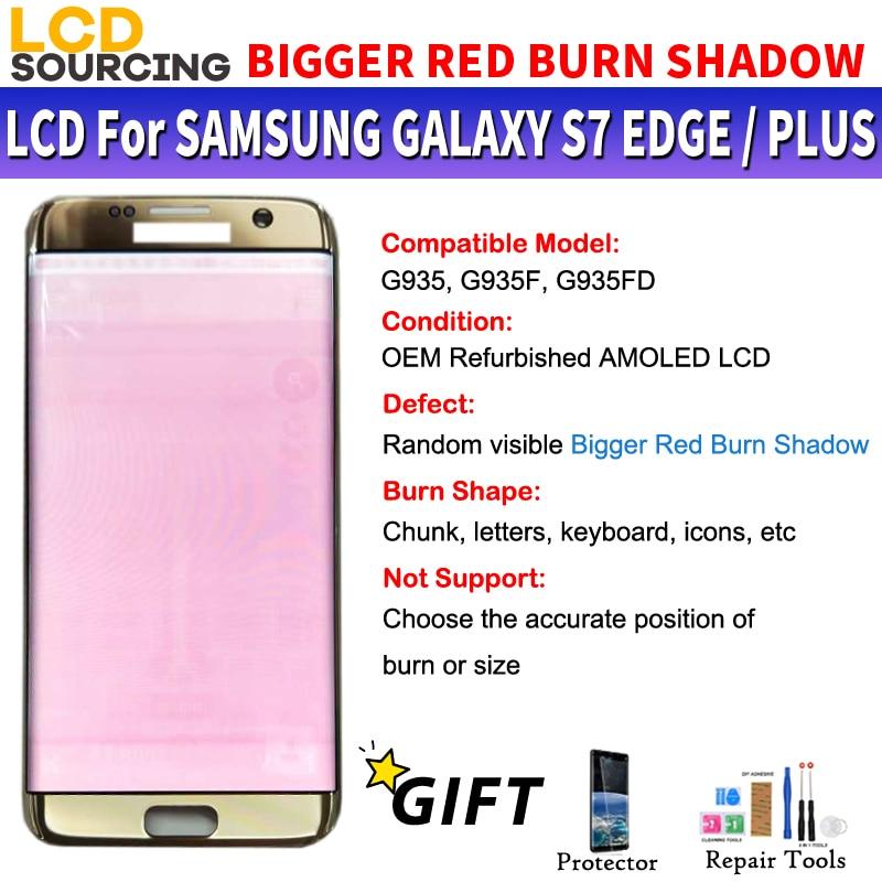 AMOLED BIGGER BIG RED BURN SHADOW For Samsung Galaxy S7 Edge LCD Display Touch Screen Digitizer