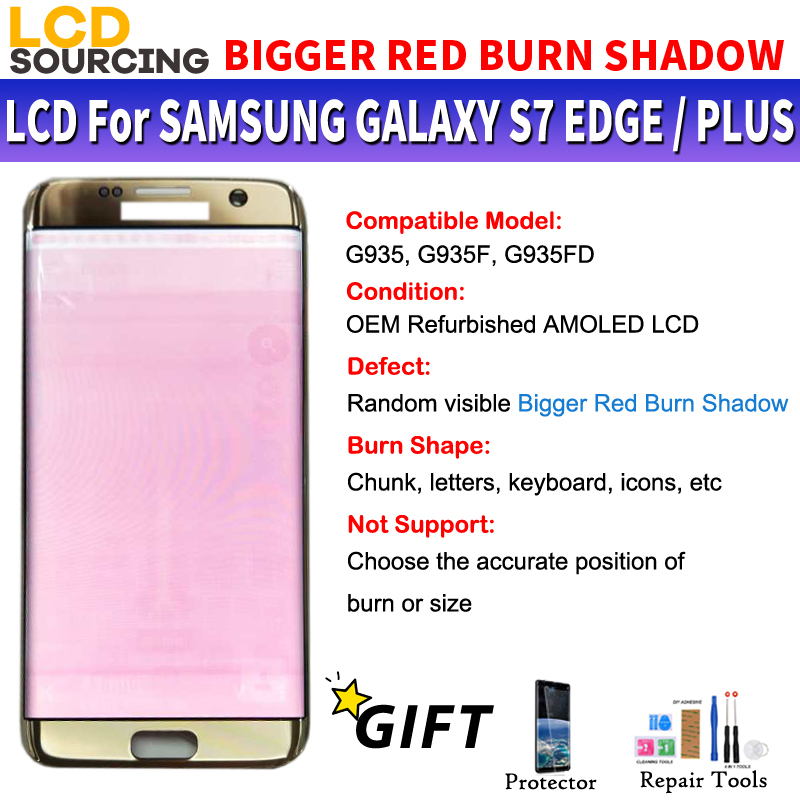 AMOLED BIGGER BIG RED BURN SHADOW For Samsung Galaxy S7 Edge LCD Display Touch Screen Digitizer Assembly For G935 G935F Replace-in Mobile Phone LCD Screens from Cellphones & Telecommunications