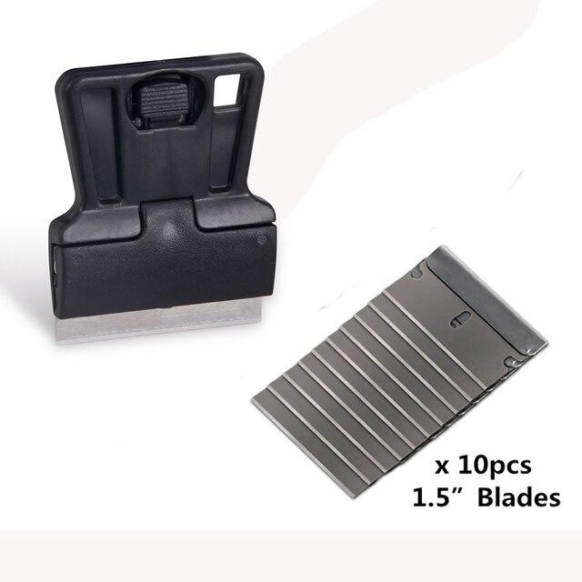 EHDIS – grattoir de rasoir + 10 pièces, lame de rasoir, outils de teinte de fenêtre, raclette de voiture en vinyle, dissolvant de colle autocollant de style de voiture