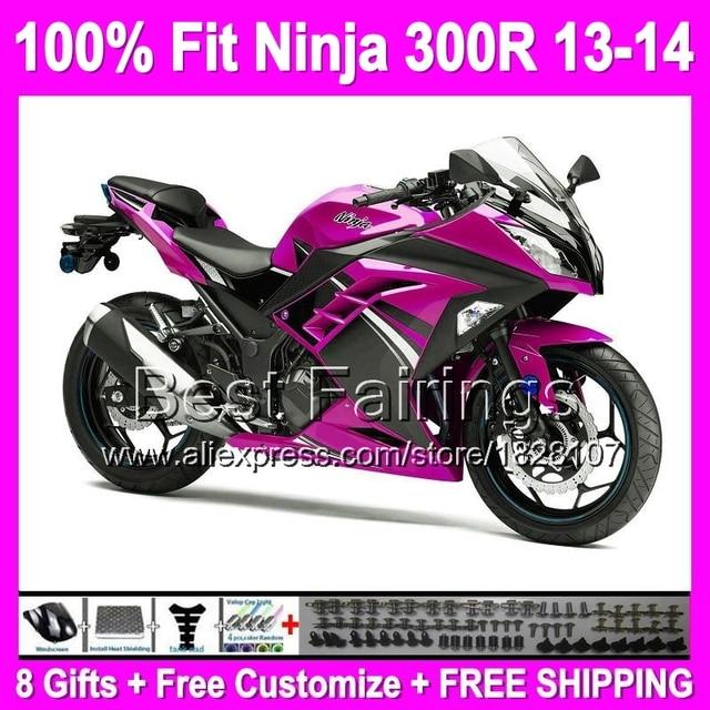 8giftsinjection For Kawasaki Pink Black Ninja 300 2013 2014 B2165