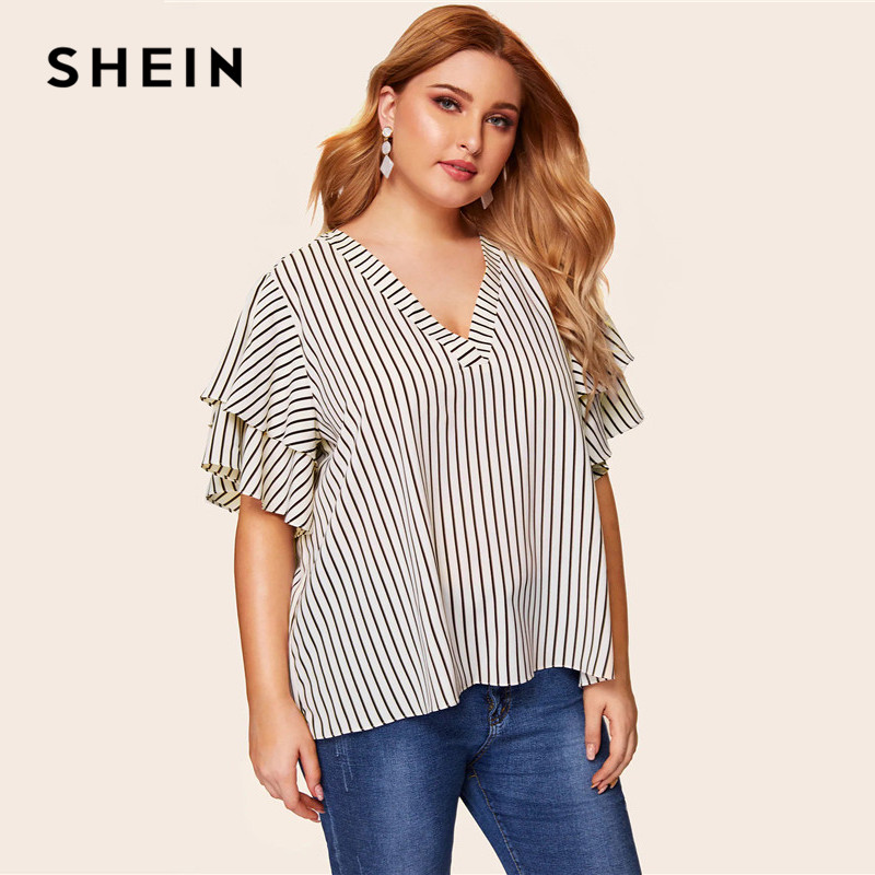 SHEIN Plus Size White V Neck Two Layers Sleeve Striped Top   Blouse   Women Summer Casual Round Neck Butterfly Sleeve   Blouses     Shirt