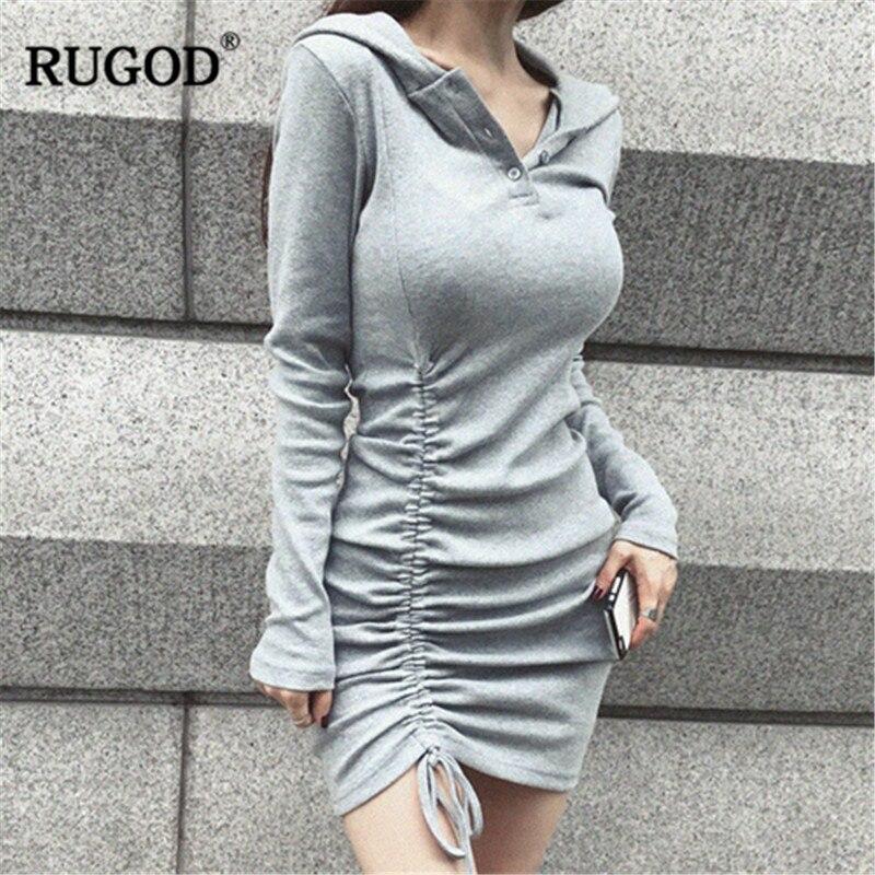 fda305bfa RUGOD sólido sexy vestido de las mujeres vestido elegante vestido de fiesta  lado atado plisado mini ...