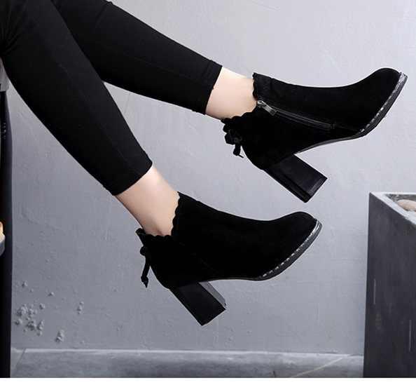 Sıcak Kışlık Botlar kadınlar 2018 Siyah yarım çizmeler Kadınlar Için Kalın Topuk Bayanlar Ayakkabı Üzerinde Kayma Boots34-42