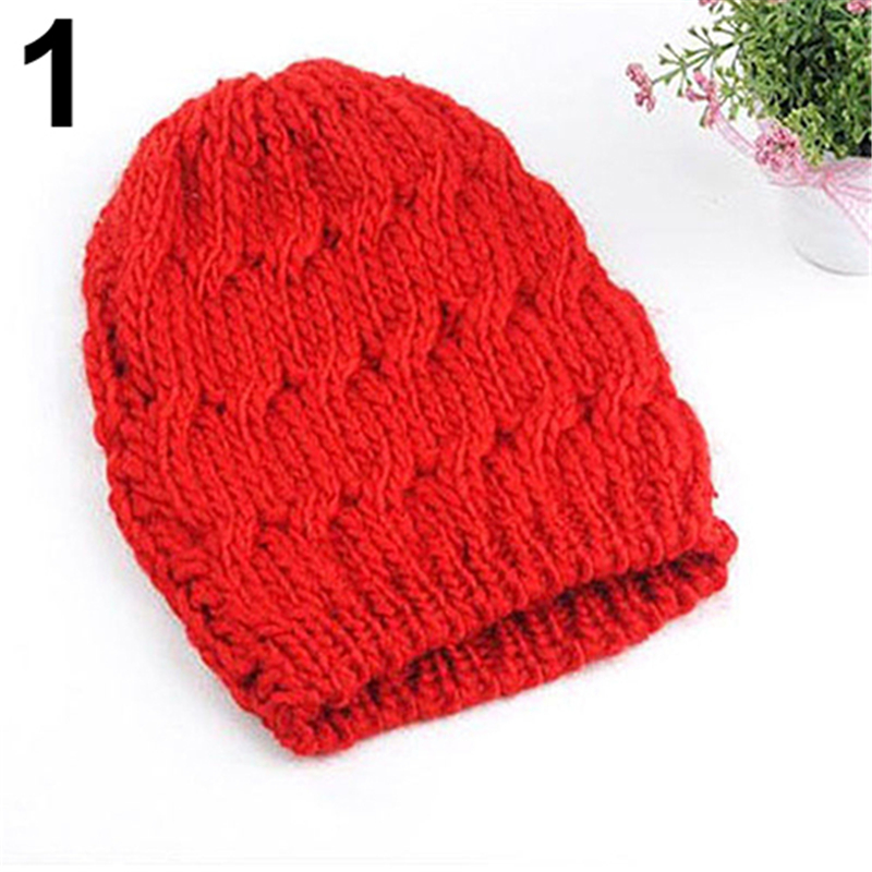Women Winter Fashion Cable Knit Crochet Hat Solid Color Warm Baggy Beanie Cap