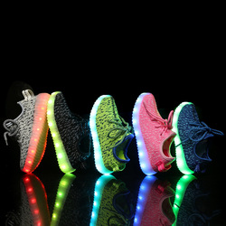 Free shipping five color USB charge kids led shoes for girls and boys, lighted shoes superstar led children shoes