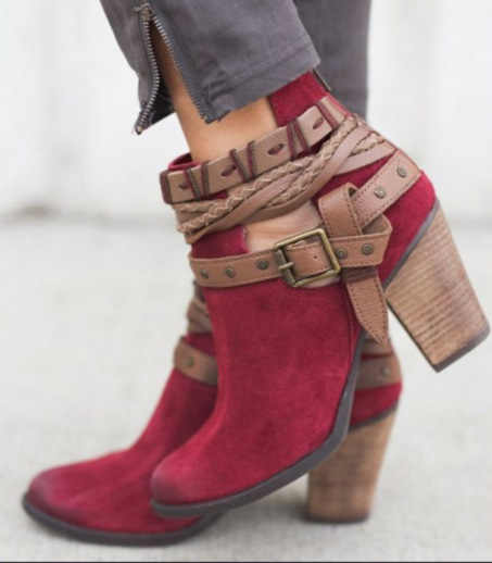 KARINLUNA/2019 г. Демисезонные женские ботинки в стиле ретро декоративные ремешки винтажные ботильоны на высоком квадратном каблуке 8 см женская обувь