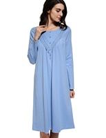 O-neck Sleep Dress Women Blue Ruffle Hem Sleepwear Elegant Long Sleeve Casual Loose Nightgowns Cotton Breathable Long Sleepdress