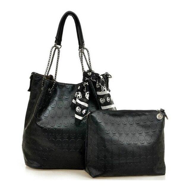 2017 Design Skull Bucket Bag Tote Bags For Women Shoulder Hand Bag Set Female Black Skull Handbags Ladies Vintage Pu Purse Scarf