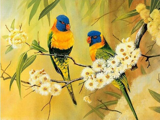 pájaros del bordado de diamantes, pintura 3d, loro bordado de - Artes, artesanía y costura