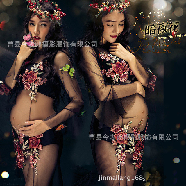 2017 Black Embroidered Dress Pregnancy Photo Shoot Beach Dress Maternity Long Dress Pregnant Photography Props Fancy Clothing