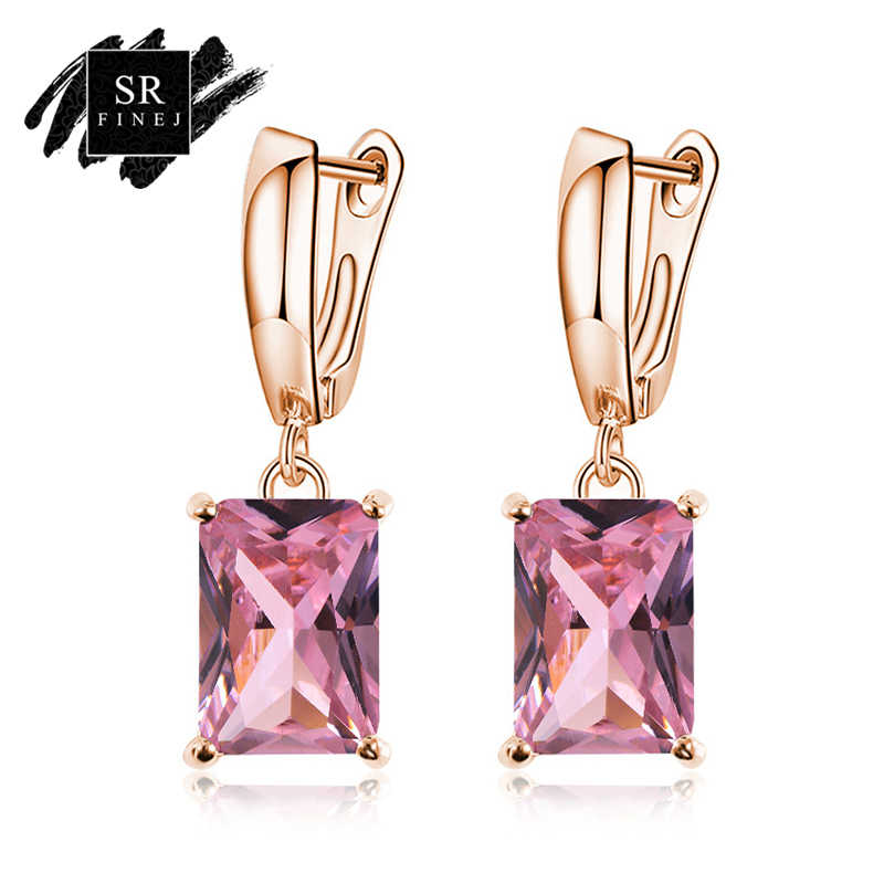 SR:FINEJ Fashion Gold Color Square Drop Earrings Pink Red Green Austrian Crystal Rhinestone Earring For Women Wedding Jewelry