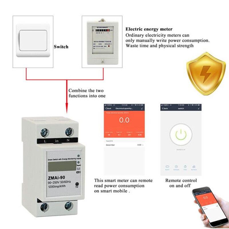 2pcs Smart Life APP однофазный din рейку wifi умный измеритель энергии Потребляемая мощность кВтч метр ваттметр 220 В, 110 В переменного тока 50 Гц/60 Гц
