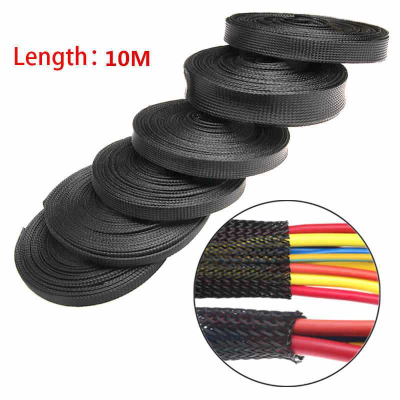 10M Black Insulated Braid Sleeving 2/4/6/8/10/12/15/20/25mm Tight PET Wire Cable Protection Expandable Cable Sleeve Wire Gland