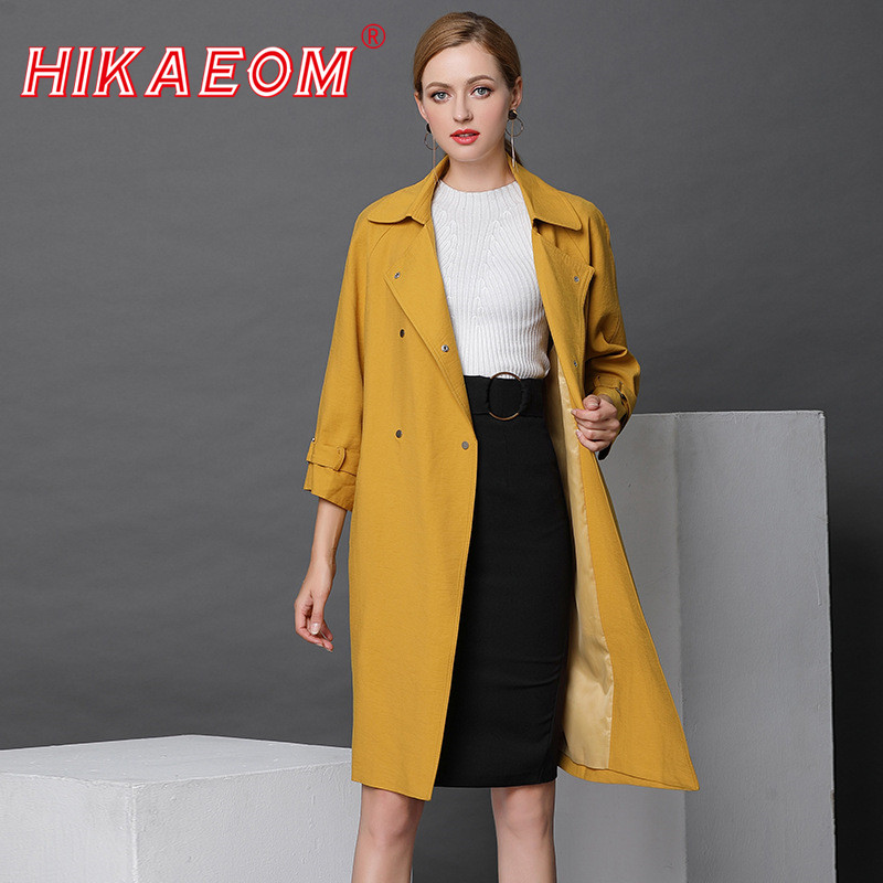 2018 New High-end   Trench   Coat For Women Early Spring Double Breasted Women Long British Women's Windbreaker Casaco Feminino