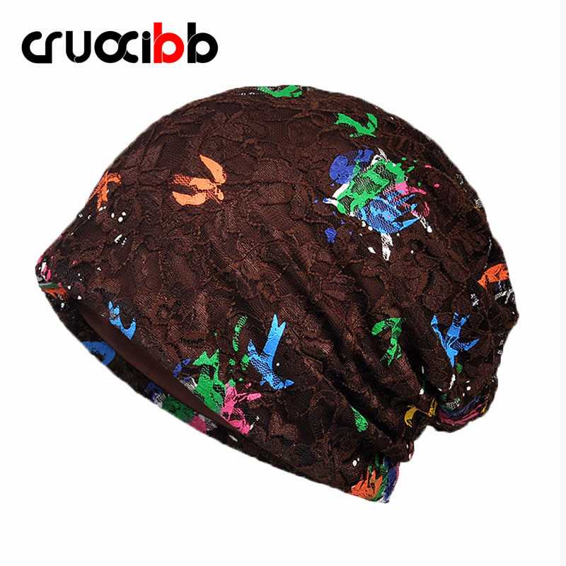 CRUOXIBB New Brand Skullies Women Spring Autumn Hat Balaclava Womens Knitted Hat with Swallow Prints Colorful Soft Lace Cap skullies