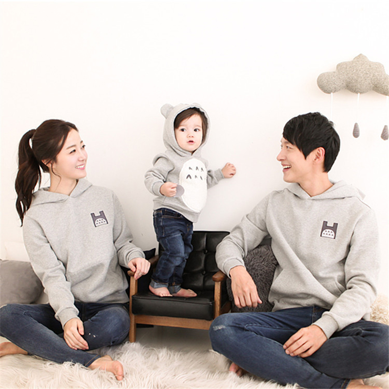 Household Matching Outfits Cotton Cartoon Father Son Pullover Grey Hoodies Sweater With Velvet Lengthy Sleeve T-shirt Mommy Me Garments Matching Household Outfits, Low-cost Matching Household Outfits, Household Matching Outfits...