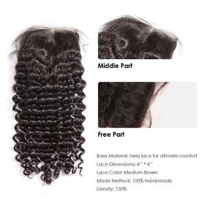 Image 5 - 36 40 אינץ מתולתל חבילות עם סגירת עמוק גל ברזילאי שיער Weave חבילות עם סגירת כפול נמשך רמי שיער טבעי