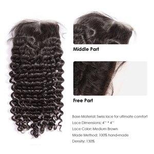 Image 5 - 36 40 inç kıvırcık demetleri ile kapatma derin gölgeli brezilyalı saçı örgü demetleri ile kapatma çift çekilmiş Remy insan saçı