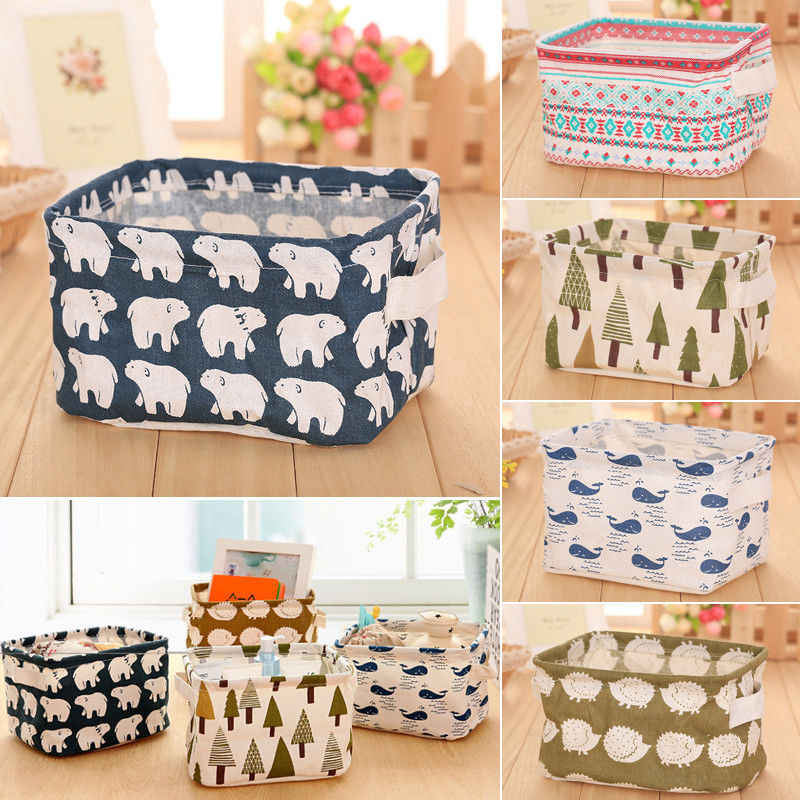 5 Colors Cute Foldable Storage Closet Toy Box Container Organizer Fabric Basket Office Desk Storage Jewelry Cosmetic Makeup Box