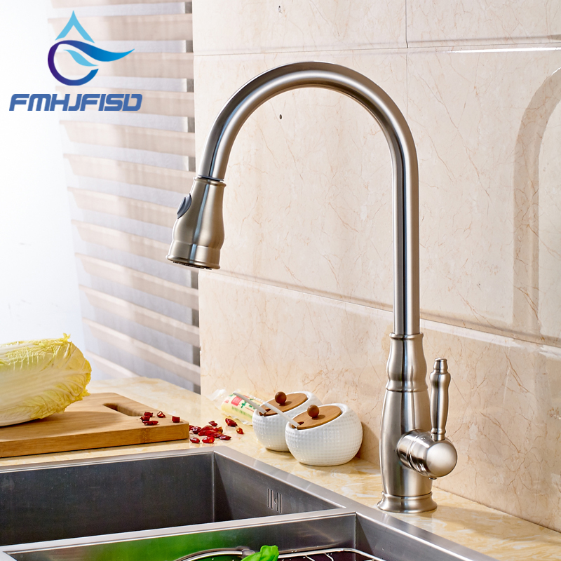 Wholesale and Retail Kitchen Sink Faucet with Dual Functions Sprayer Brushed Nickel