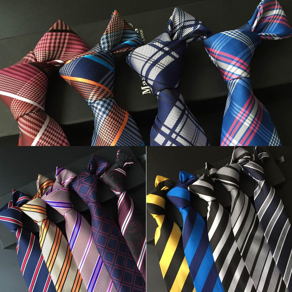 Men Modish Grids Checks font b Tartan b font Stripe Jacquard Tie 8cm Wide Necktie BWTHZ0022