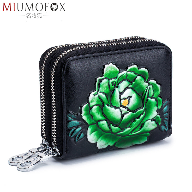 2019 RFID Blocking Card Holder Double Zippe Cards Wallet Rose Printing Coin Purse Women Large Capacity Business Credit Card Case