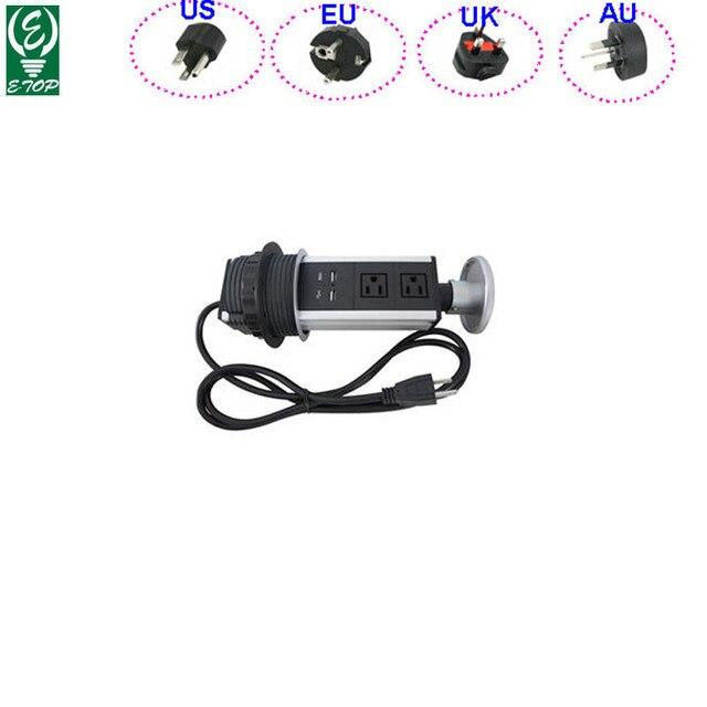 15pcs/lot 2 Power Outlet Pop Up Power Kitchen Tensile Type Socket Worktop Table Retractable USB Charger US/AU/EU/UK Optional
