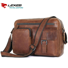 LEXEB Genuine Leather Men's Messenger Bags Fit 12.9 Inch iPad, Travel Casual Versatile Small Sling Bag, Everyday Satchels Coffee
