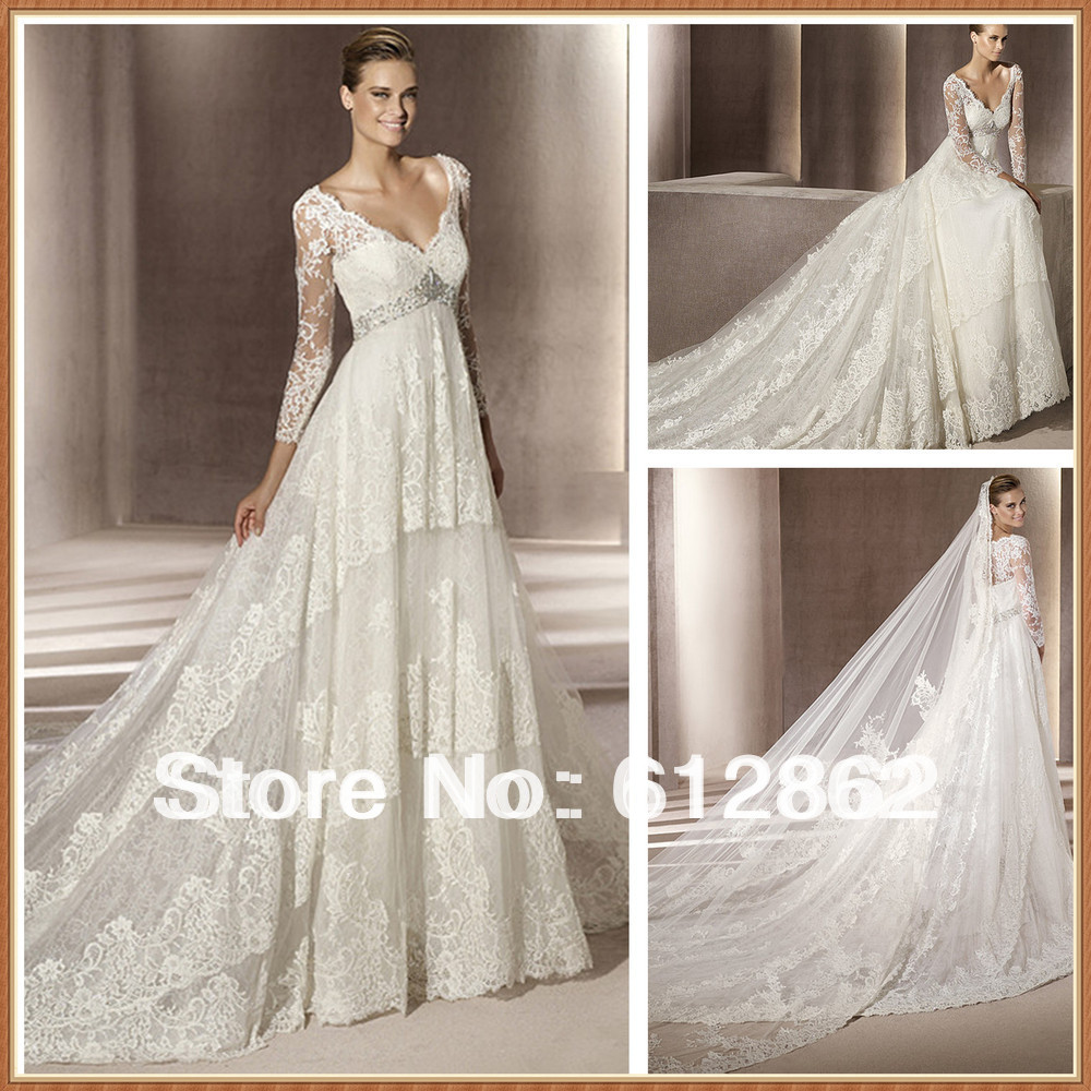 Vestidos de novia 2016 wedding dresses long train empire for Wedding dress long train