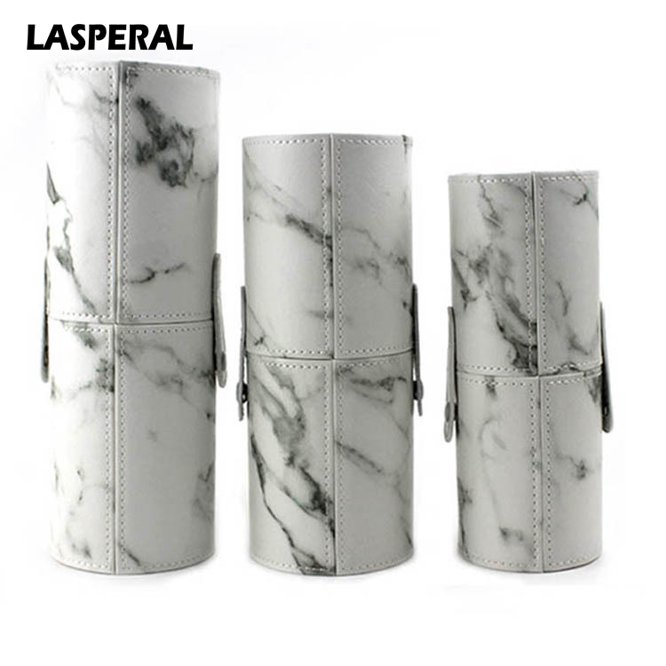 LASPERAL Marble Pattern Portable Makeup Brushes Storage Holder PU Leather Travel Cosmetic Cup Brush Tube Storage Organizer