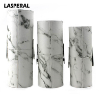 LASPERAL Marble Pattern Portable Makeup Brushes Storage Holder PU Leather Travel Cosmetic Cup Brush Tube Storage