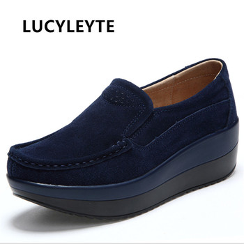 Platform Shoes Woman Flat Shoes Women Flats Slip On Leather Loafers Creepers Breathable Casual Shoes Plus Size 5-10