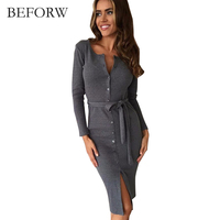 BEFORW Women Sexy Autumn Dress Fashion Vintage Button Casual Dresses Plus Size Black Gray Cotton Long