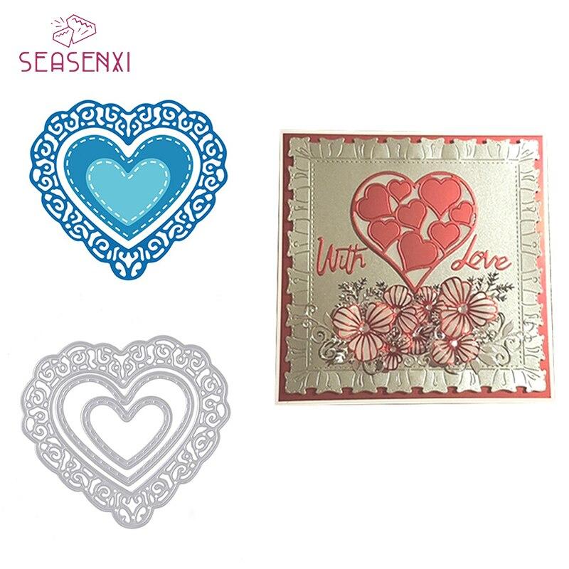 SEASENXI Love Heart Cutting Dies Carbon Steel DIY Scrapbooking Die Cuts Wedding Cards Photo Album Decoration Metal Craft Dies